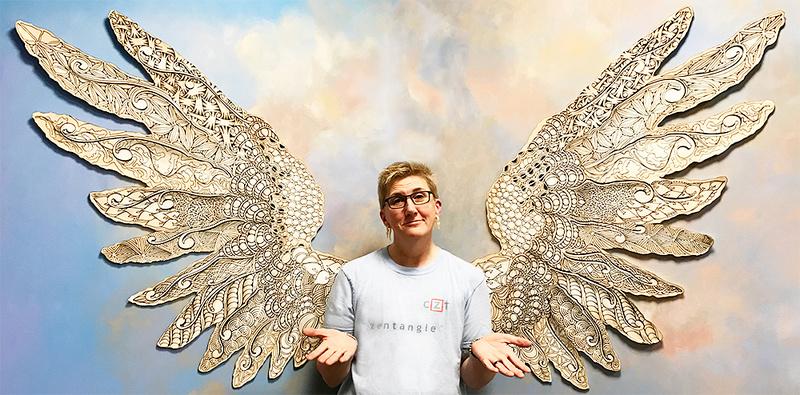 Kim Kohler with Zentangle wings