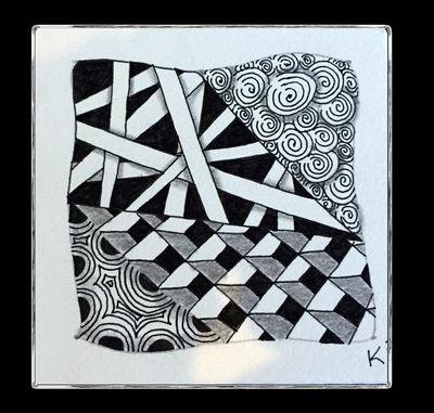 Zentangle Tile - Hollibaugh, Printemps, Cubine, Crescent Moon